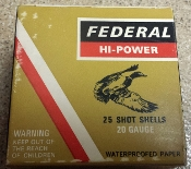FEDERAL HI-POWER 20 GA SHOT SHELLS