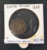 1868-VG-F SHIELD NICKEL